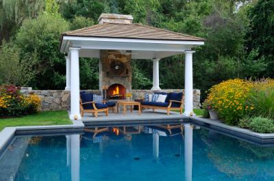 Outdoor Room with Fireplace. iStock Photo by Larry Merz